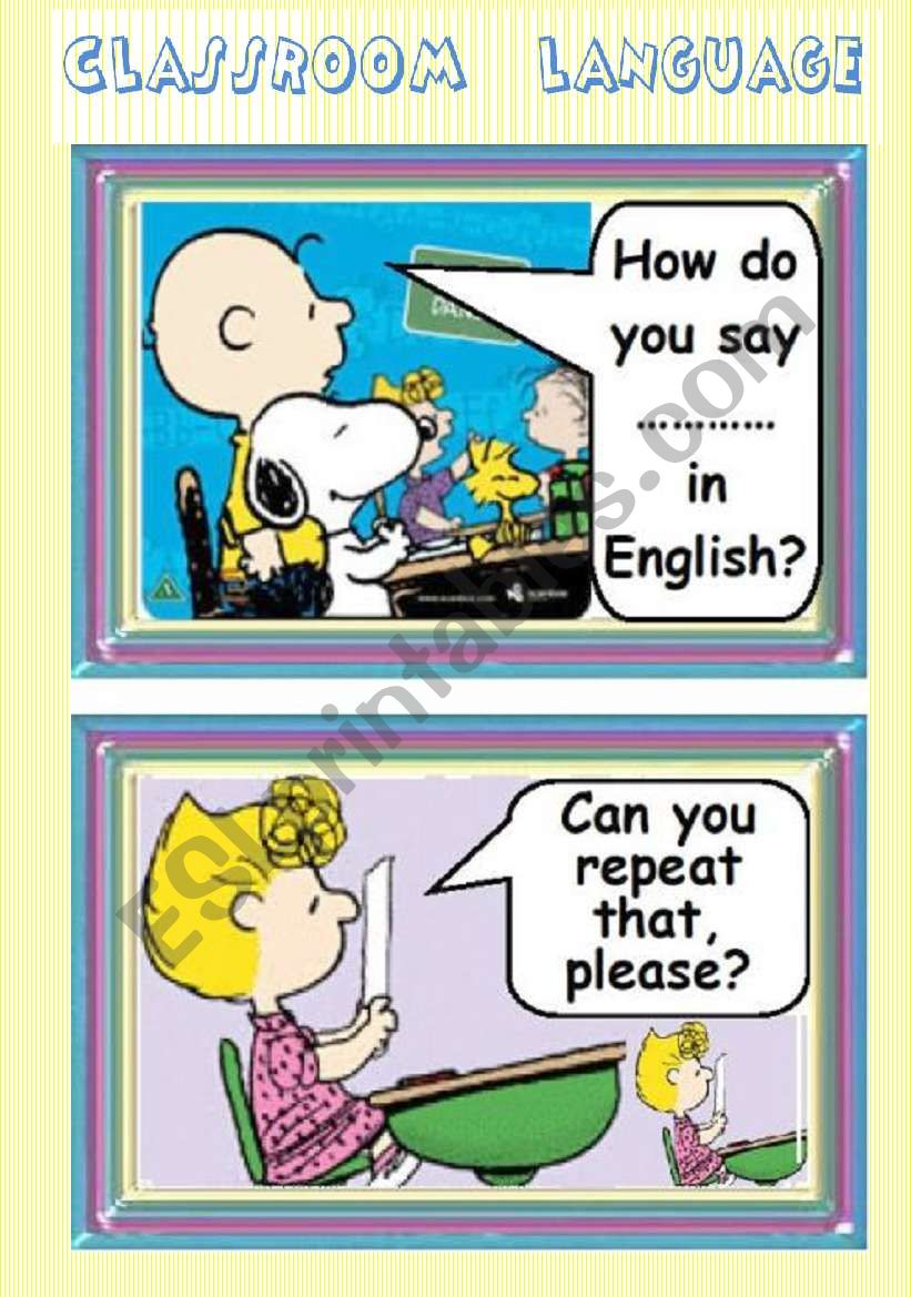 CLASSROOM LANGUAGE 4 flash cards (POSTERS) - 2/2