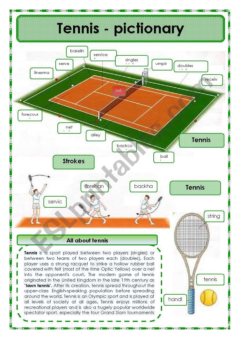 Tennis- pictionary worksheet