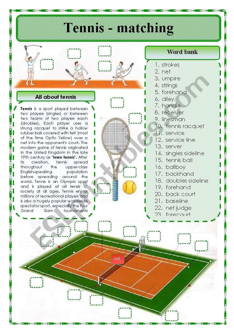 Tennis-matching exercise worksheet