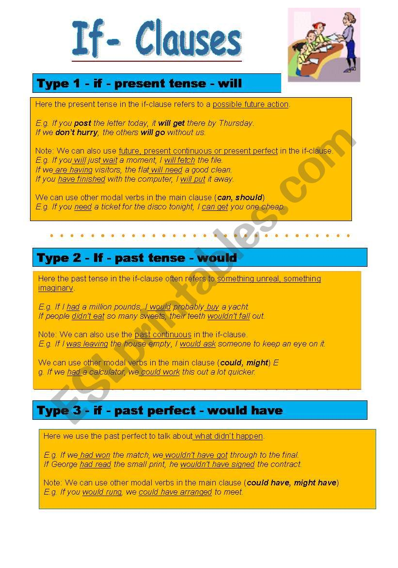 If Clauses - all types worksheet