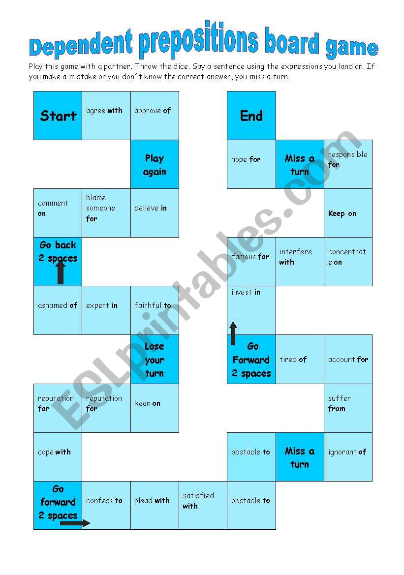 Dependent prepositions board game