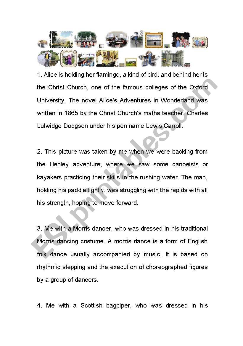 My stay in England worksheet