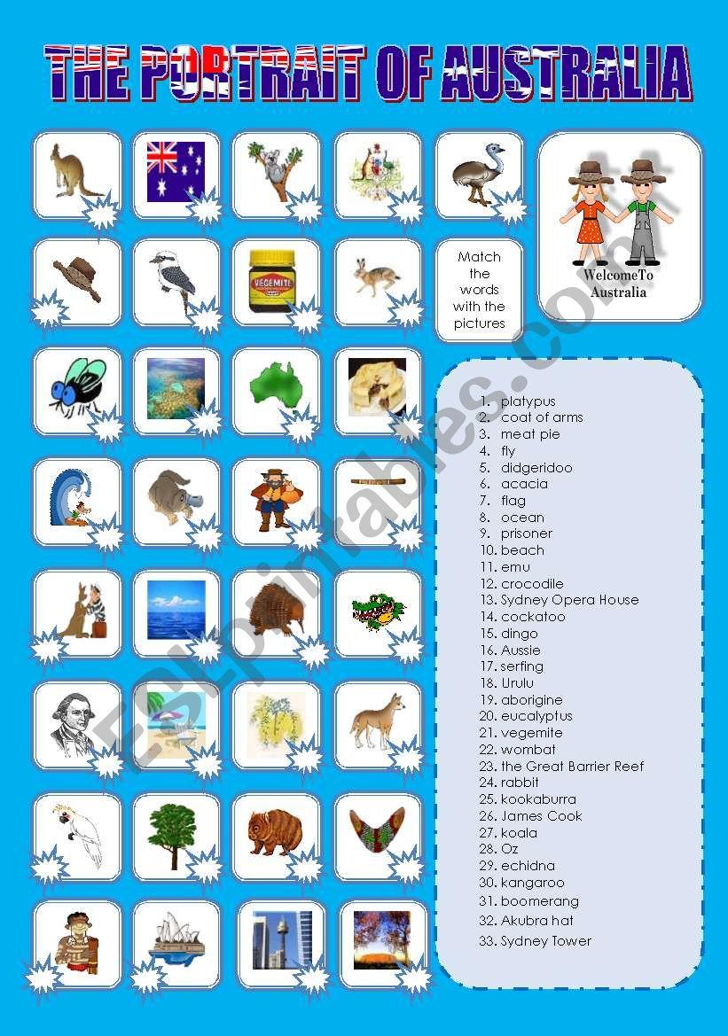 THE PORTRAIT OF AUSTRALIA worksheet