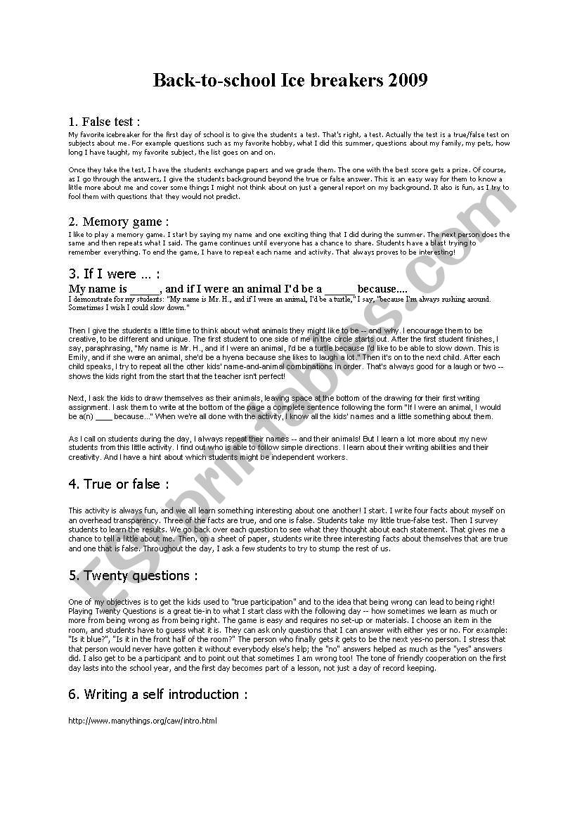 Ice breakers which work! worksheet