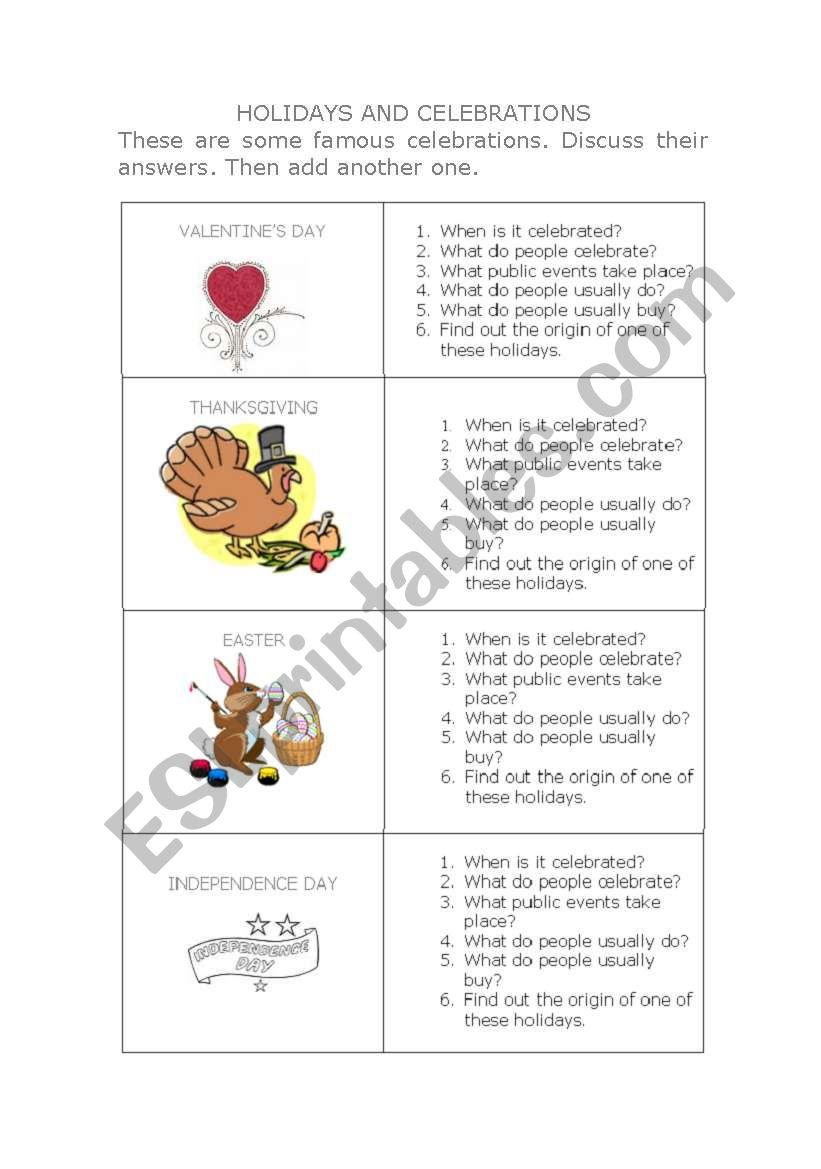 HOLIDAYS AND CELEBRATIONS worksheet