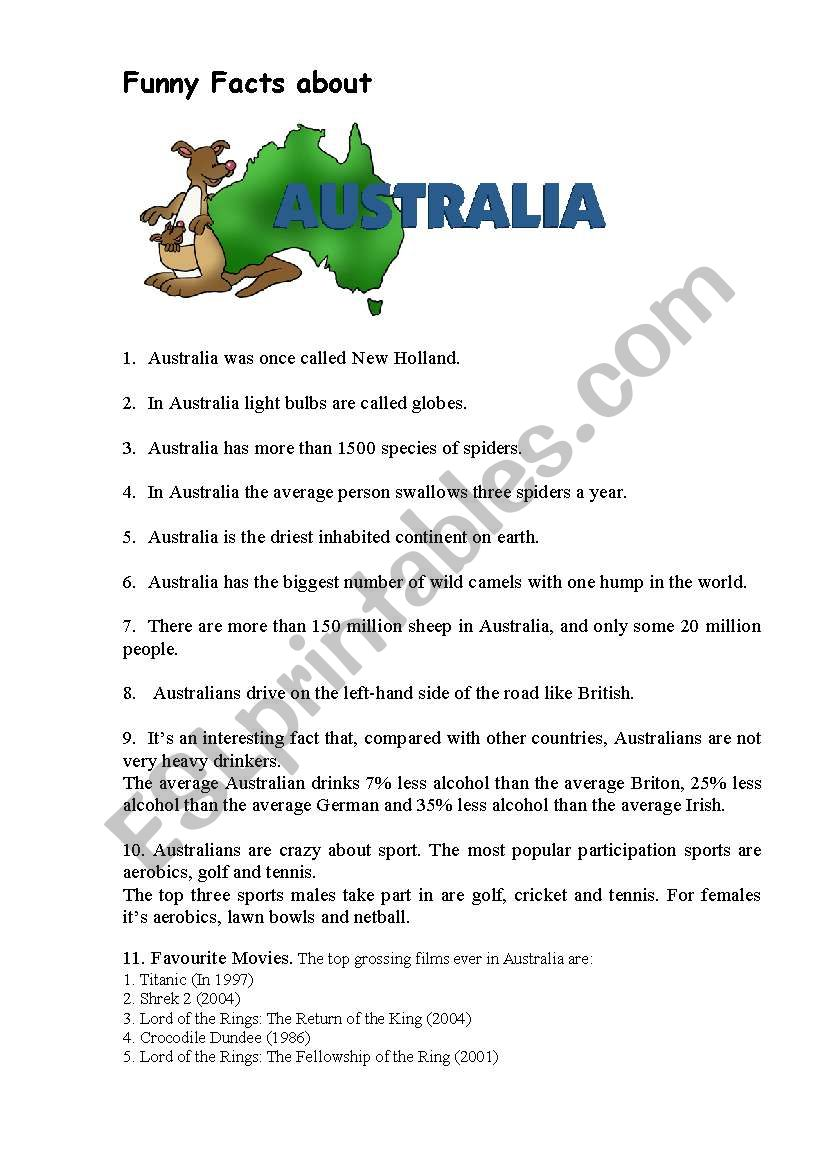 Facts about Australia worksheet