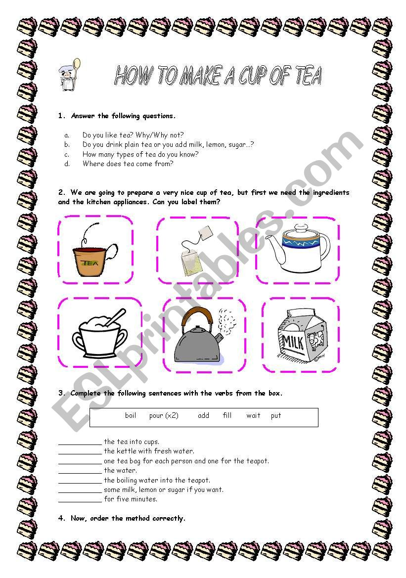 HOW TO MAKE A CUP OF TEA worksheet