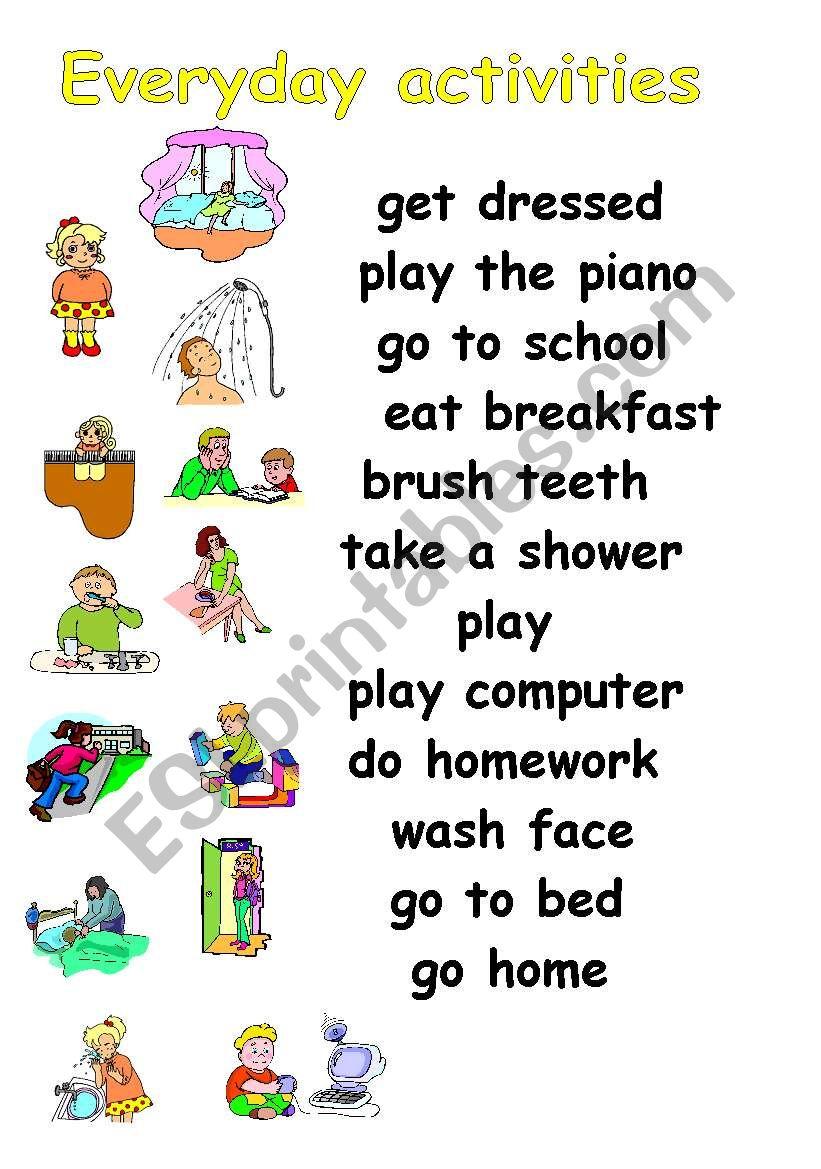 Everyday activities - ESL worksheet by julita26