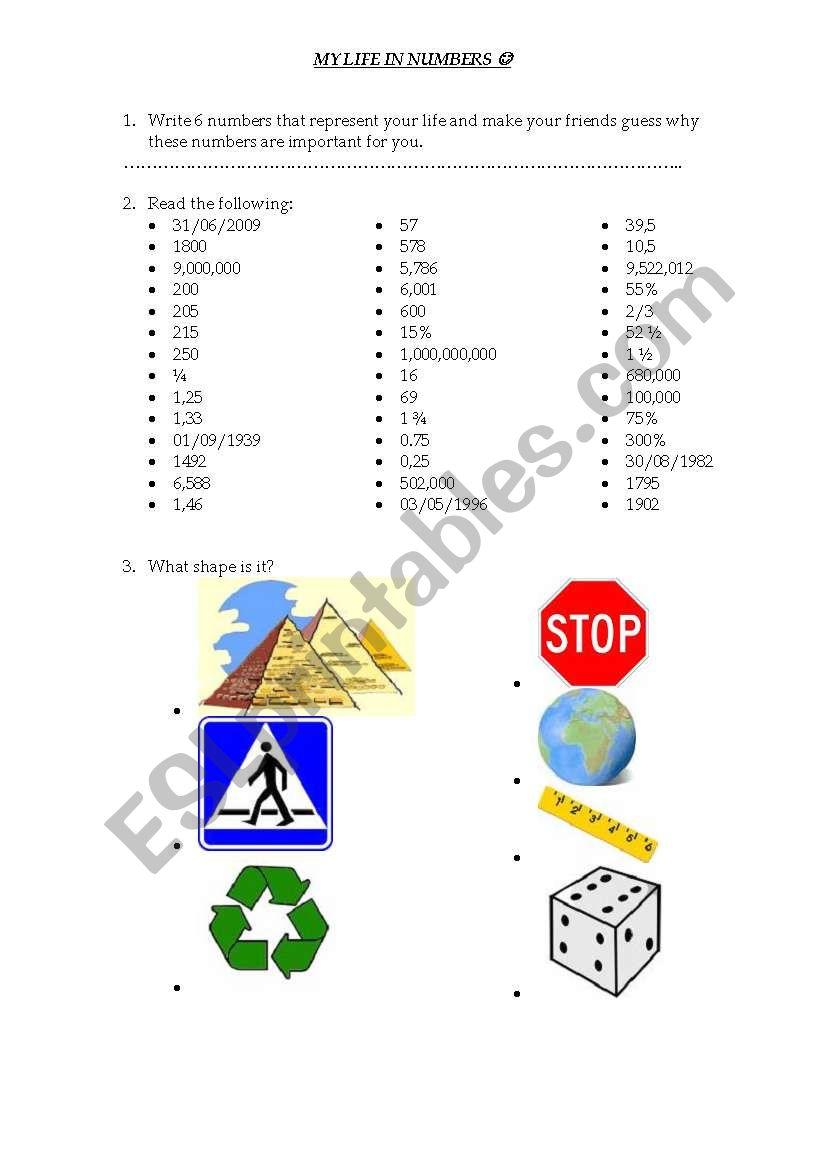 Maths in English worksheet