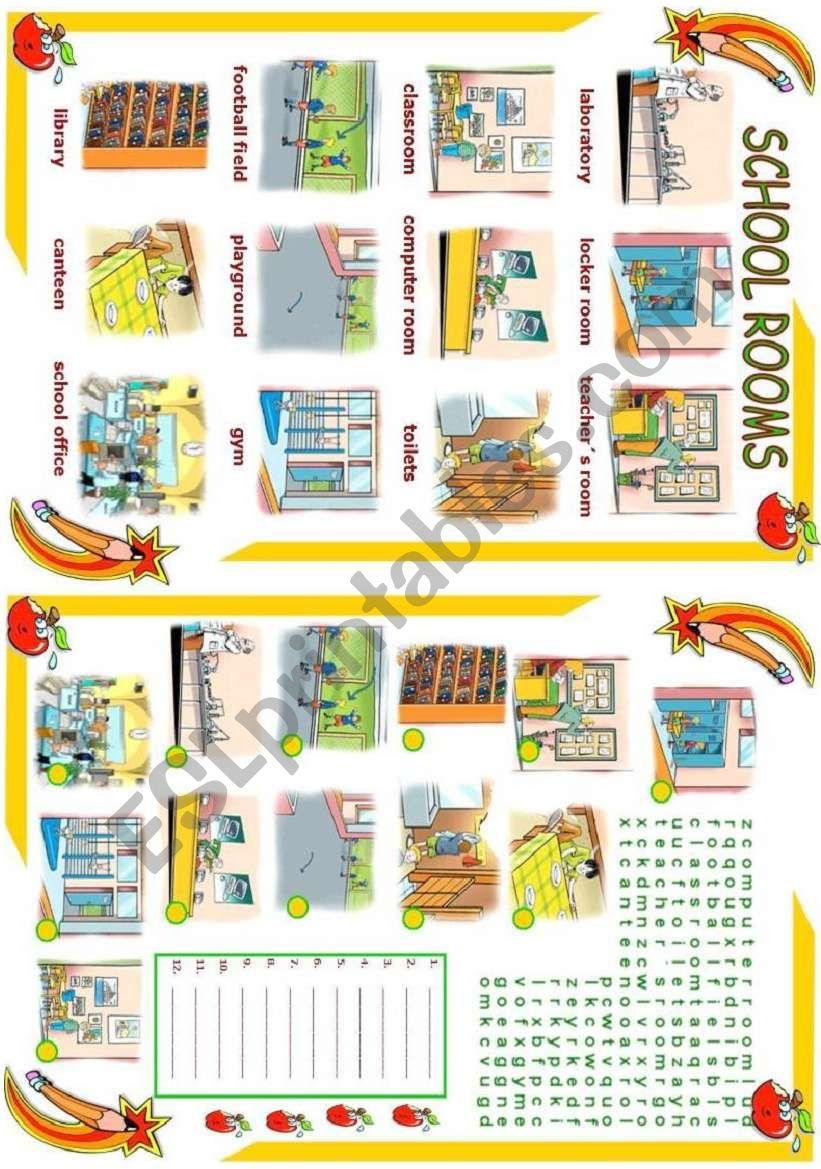 Rooms Worksheet: ESL Worksheet By Vanda51