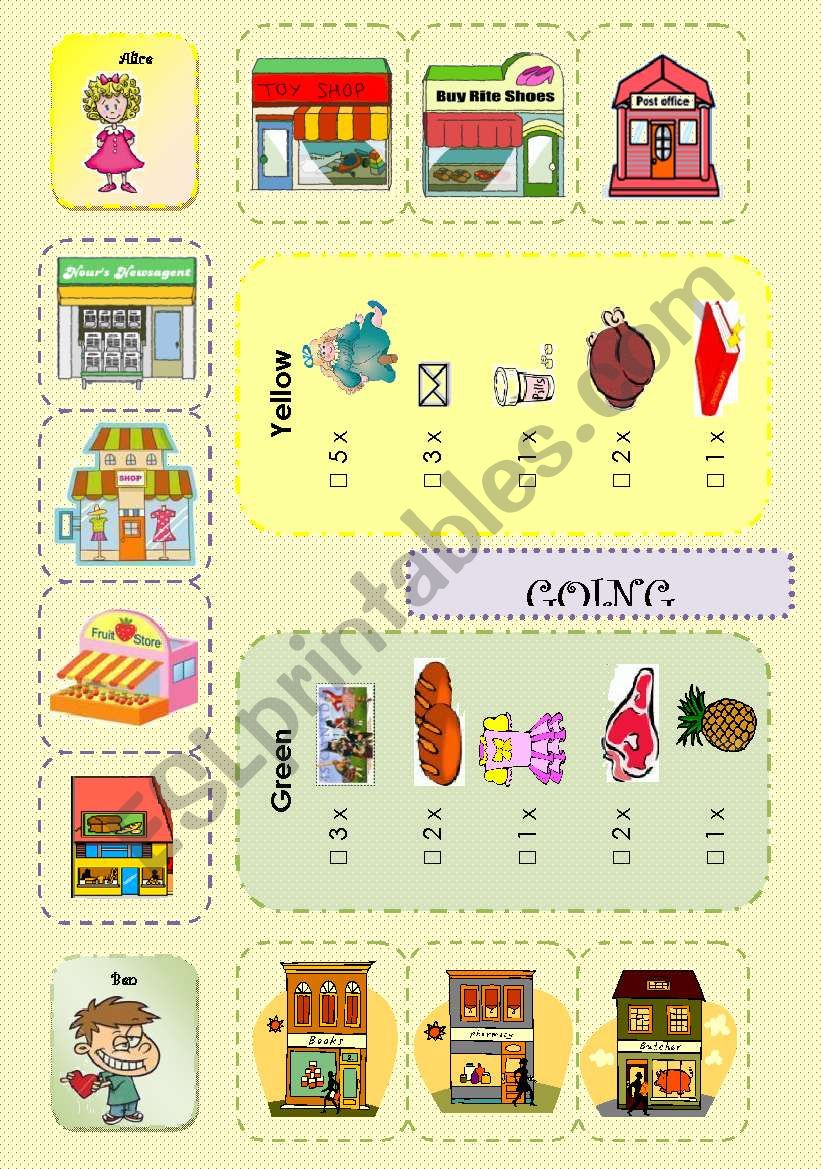Going shopping boardgame 1/3 worksheet