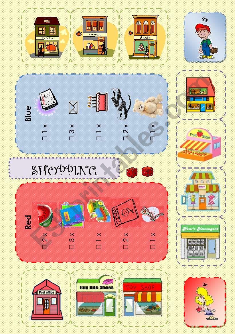 Going shopping boardgame 2/3 worksheet