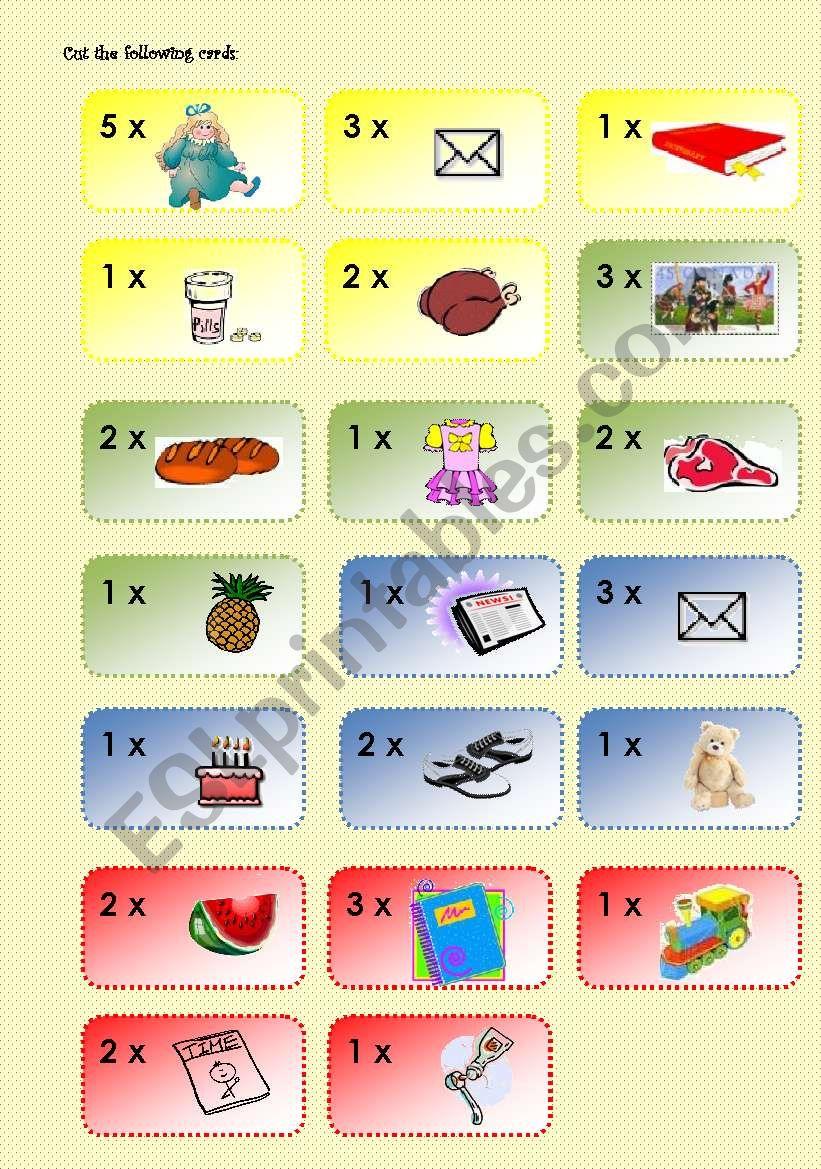 Going shopping boardgame 3/3 worksheet
