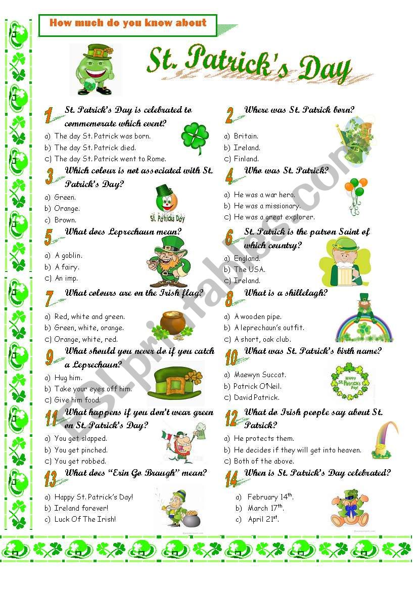 St. Patrick´s Day worksheet
