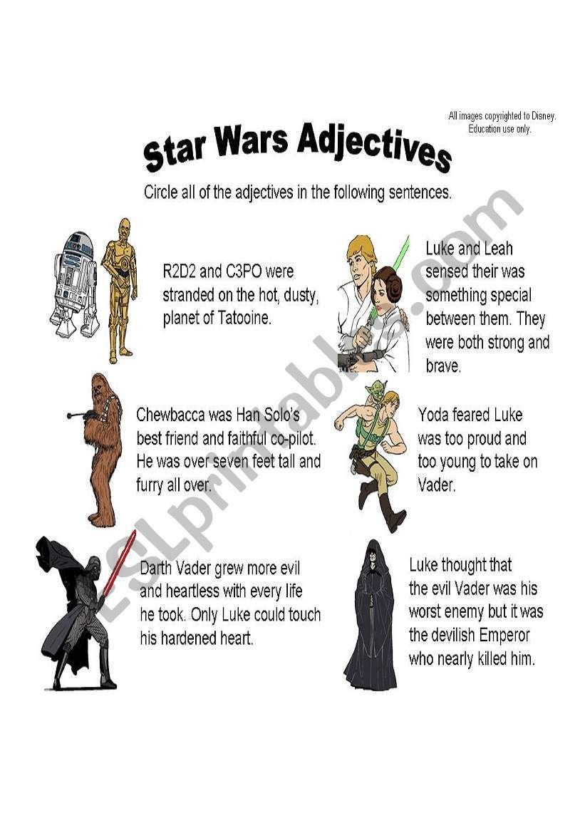 Star Wars Adjectives worksheet