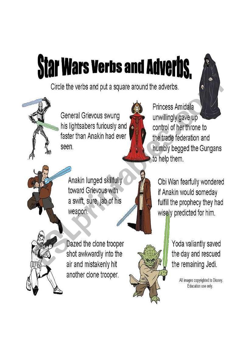 Star Wars Verbs and Adverbs Sheet