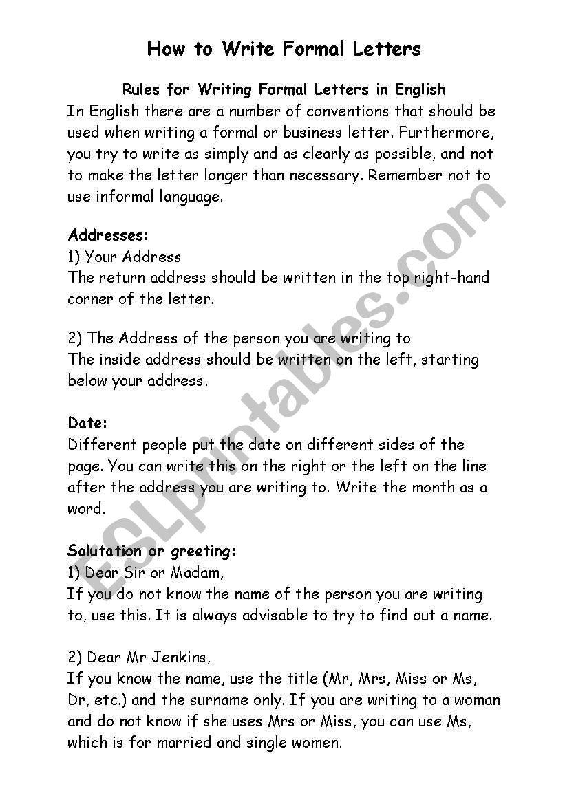How To Write Formal Letters Esl Worksheet By Nweiseth