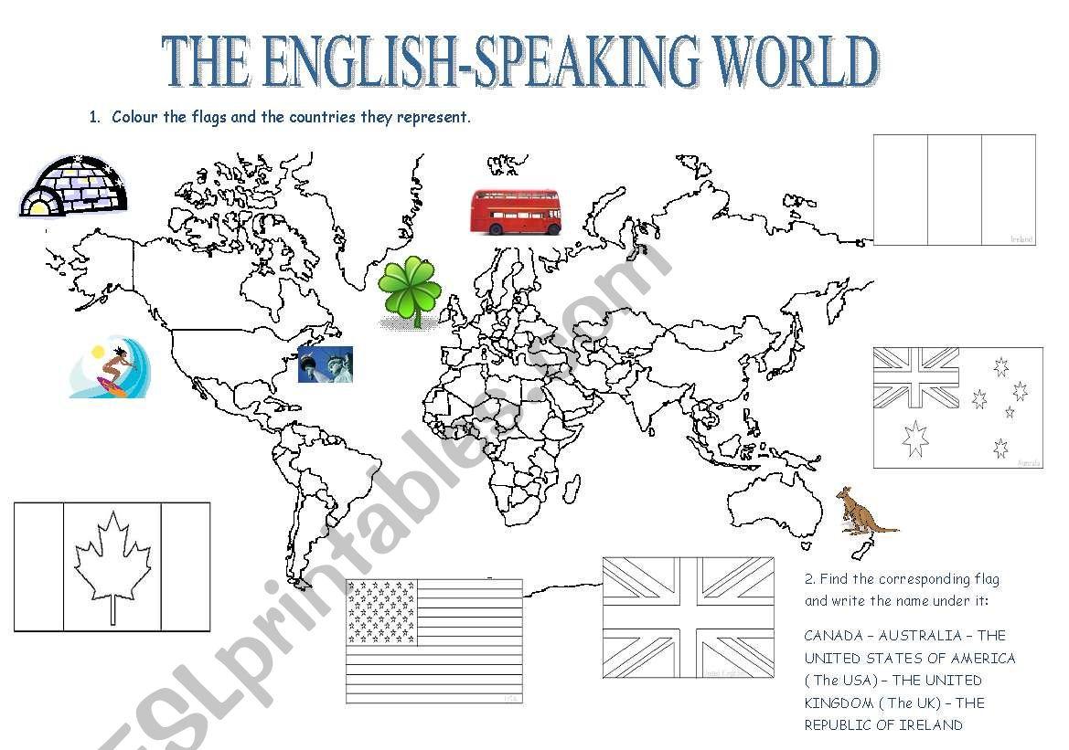 The English-Speaking Countries - ESL worksheet by lami57