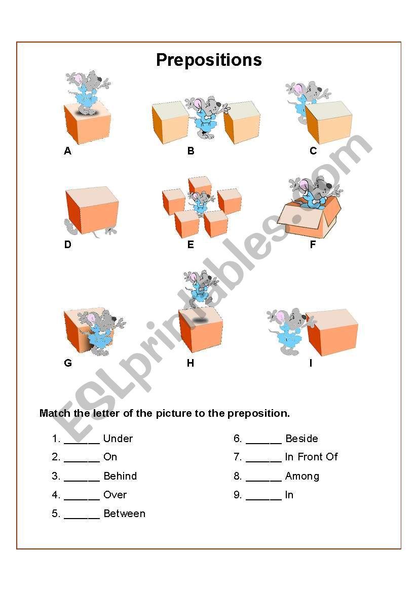 Prepositions Of Location Esl Worksheet By Arlissa