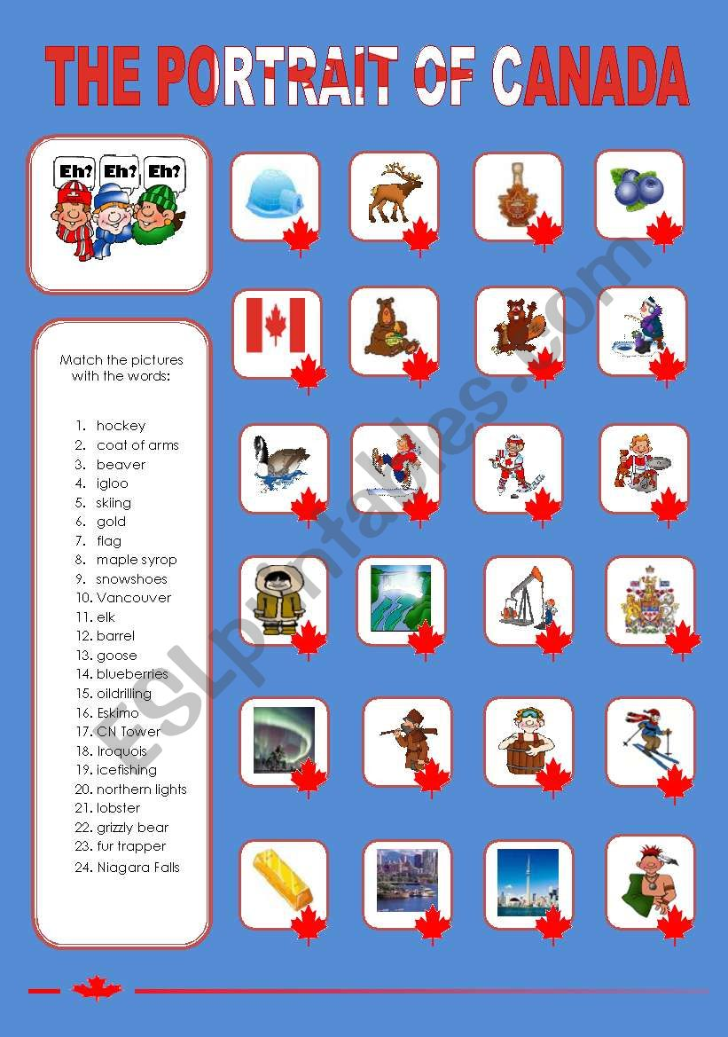 THE PORTRAIT OF CANADA (1) worksheet