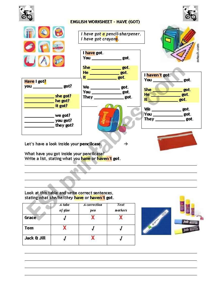 HAVE (GOT) worksheet