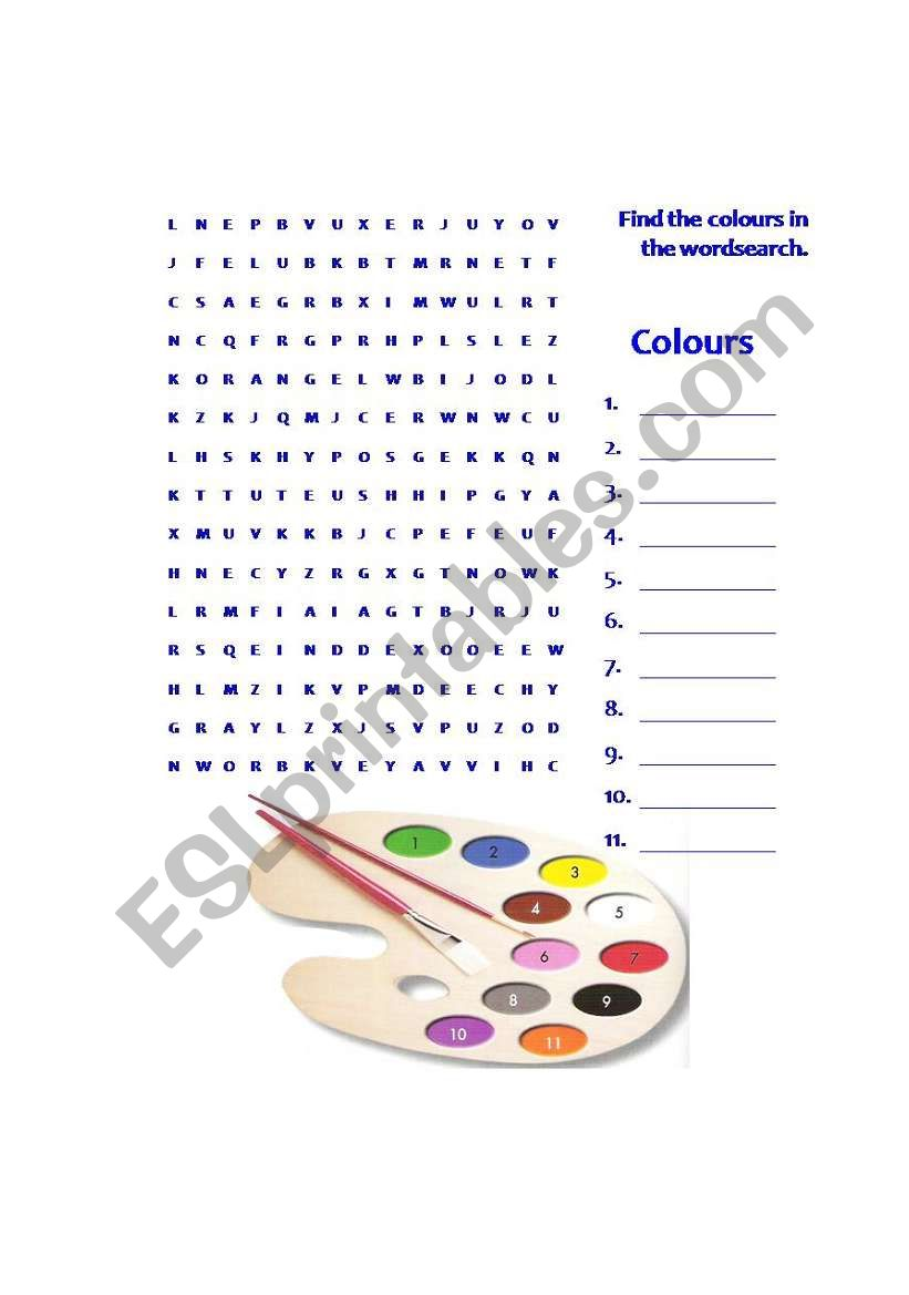 colours wordsearch worksheet