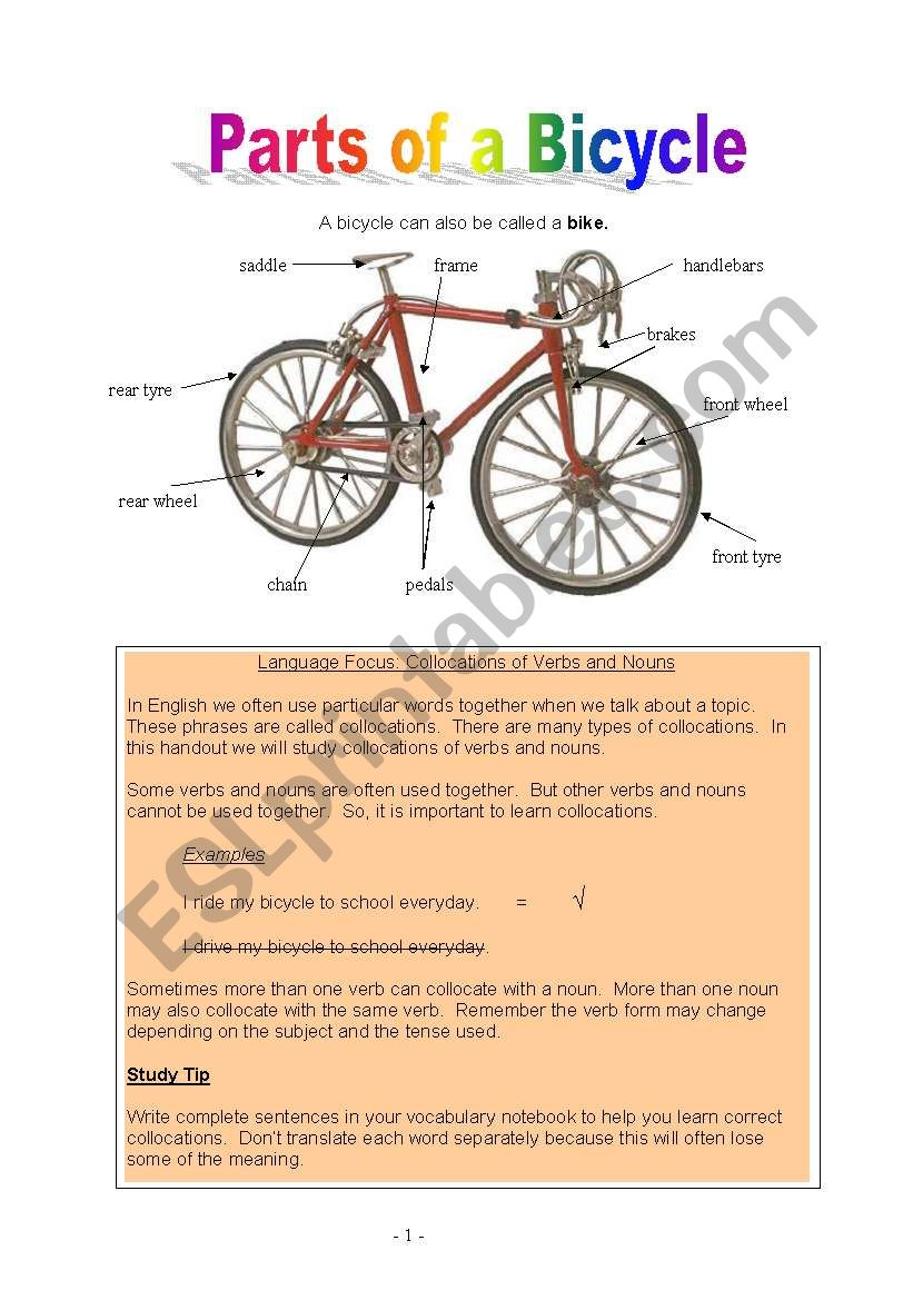 Parts of a Bicycle worksheet