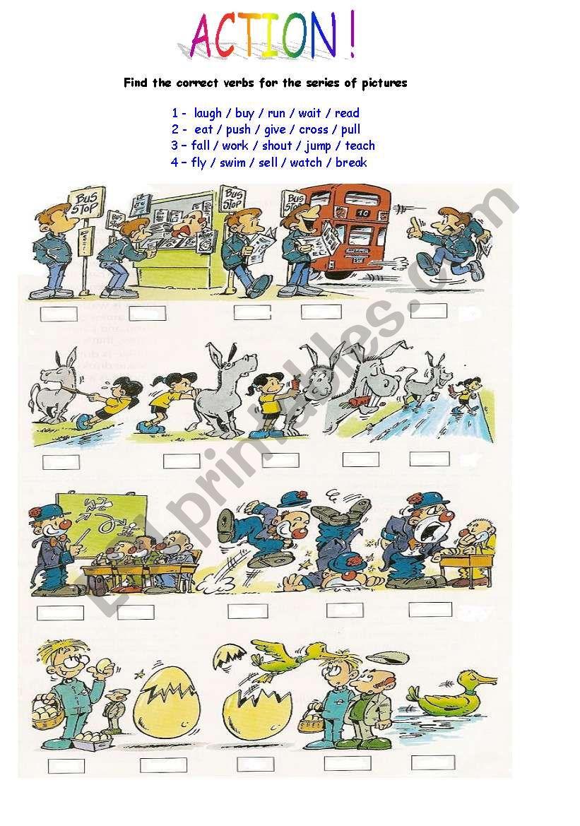 Action verbs 1 worksheet