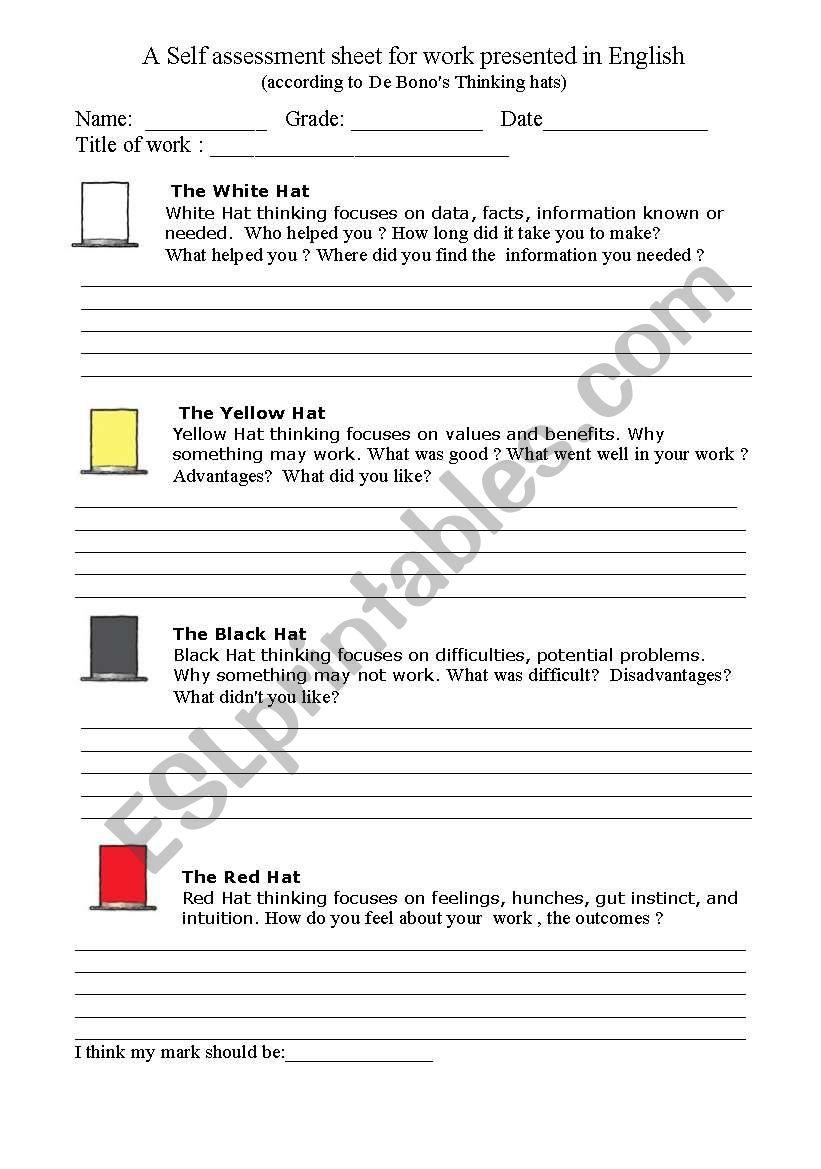A Selfessment Sheet Worksheet