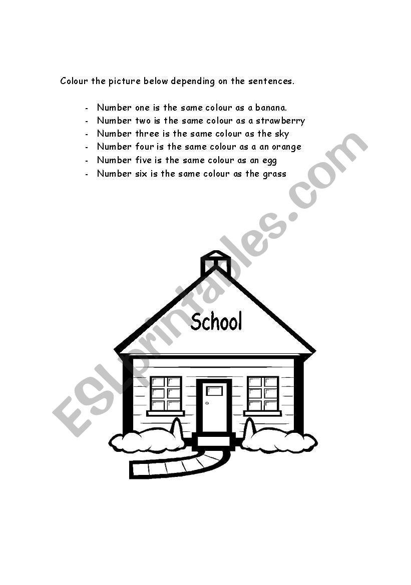 back 2 school - colour worksheet