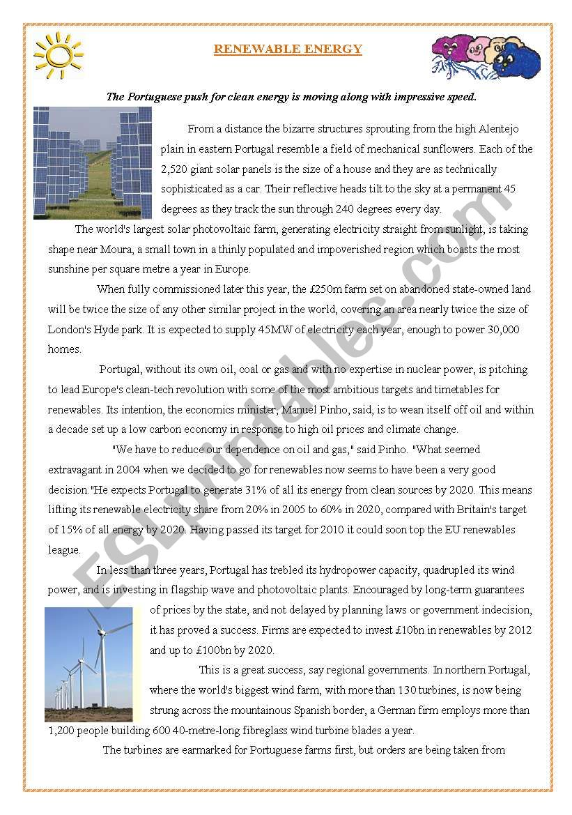 RENEWABLE ENERGY- READING COMPREHENSION - ESL worksheet by cimadas
