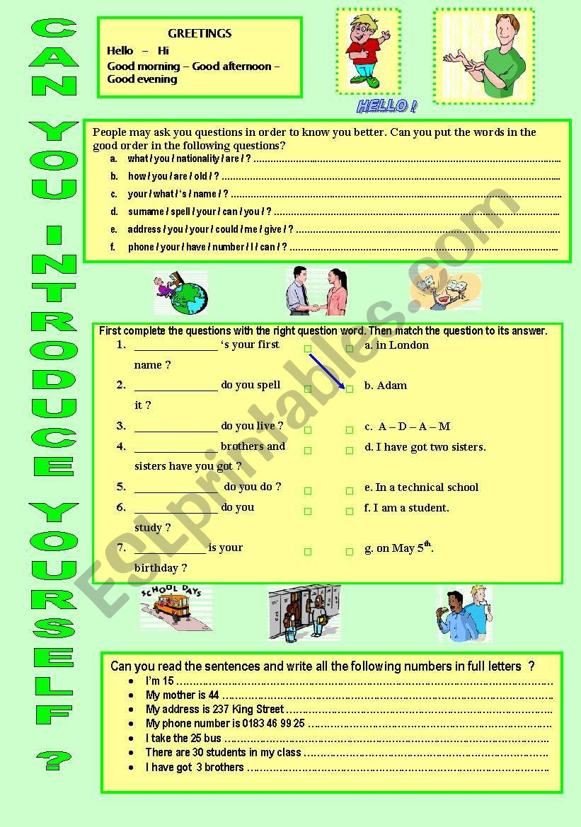 CAN YOU INTRODUCE YOURSELF ? worksheet