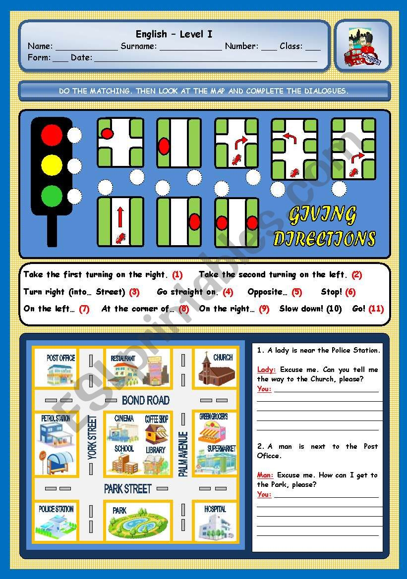GIVING DIRECTIONS worksheet