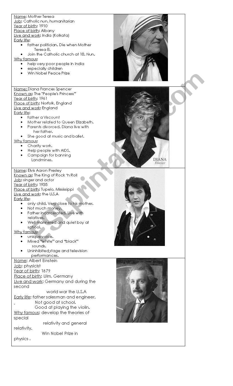 Famous people biographies worksheet