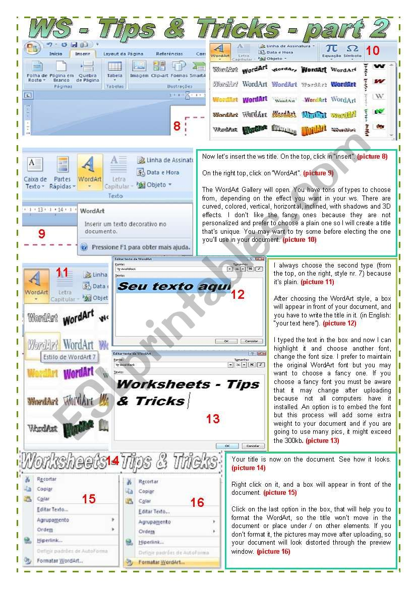 Worksheets - Tips and Tricks - Layout, borders and WordArt - Tutorial in 27 steps (part 2)