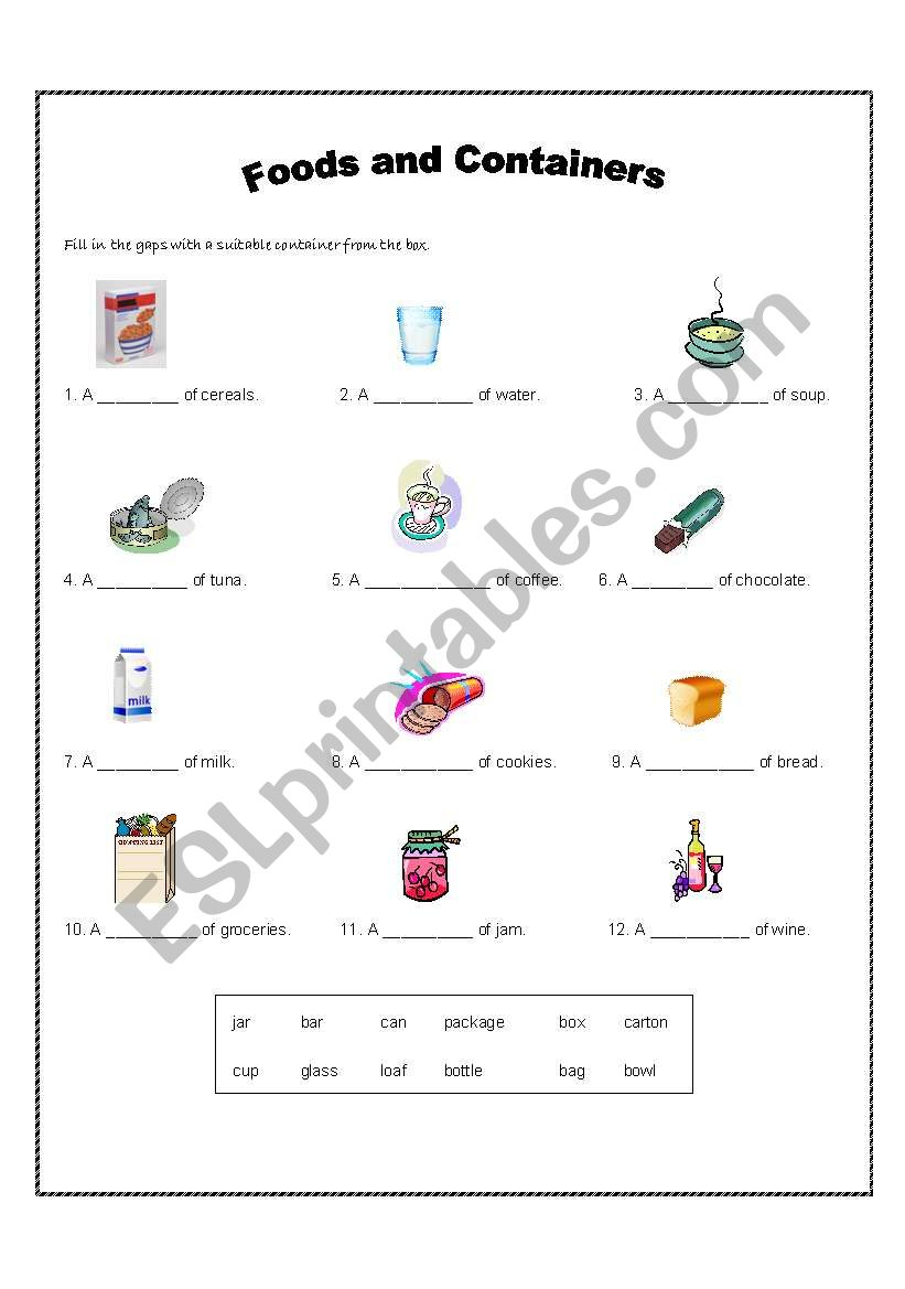 Foods and Containers worksheet
