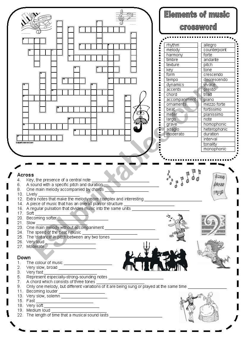 worksheet Elements Of Music Worksheet english worksheets elements of music crossword worksheet