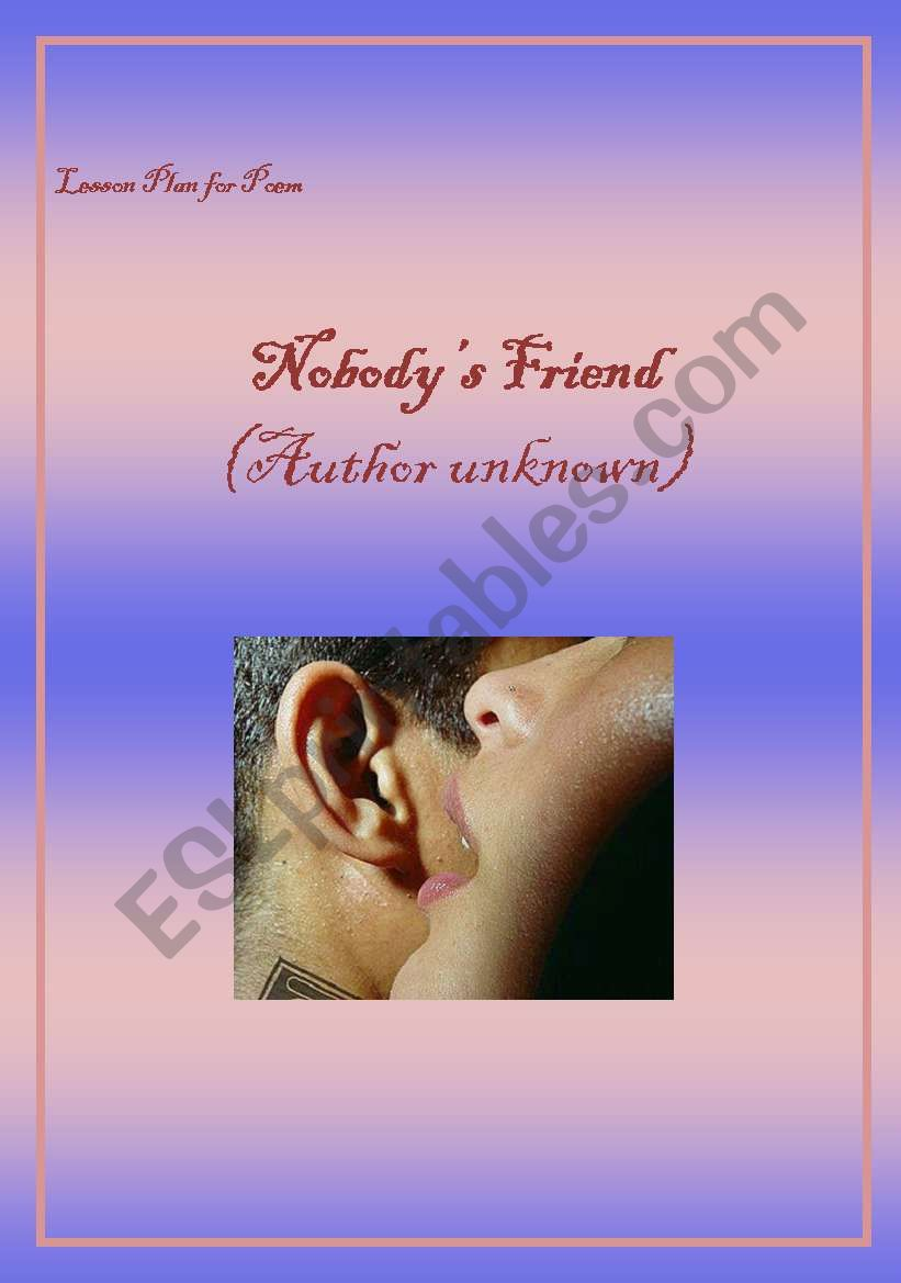 Lesson Plan for Poem: Nobody´s friend