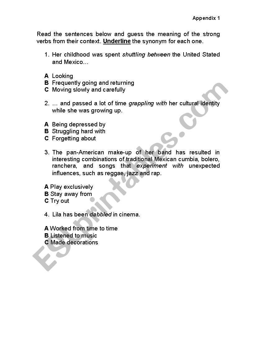 english worksheets strong verbs appendix 1. Black Bedroom Furniture Sets. Home Design Ideas