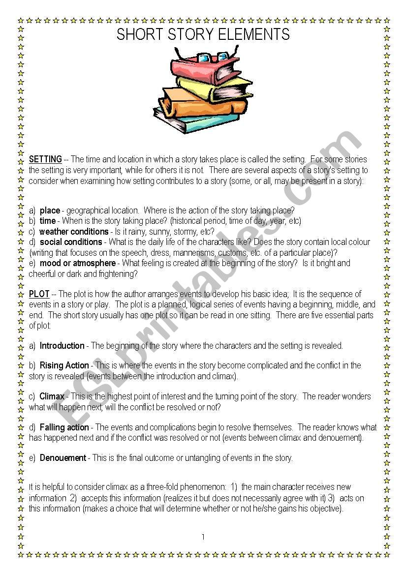 Short story elements worksheet pdf