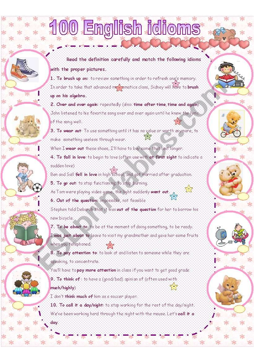 100 Essential idioms part1 worksheet