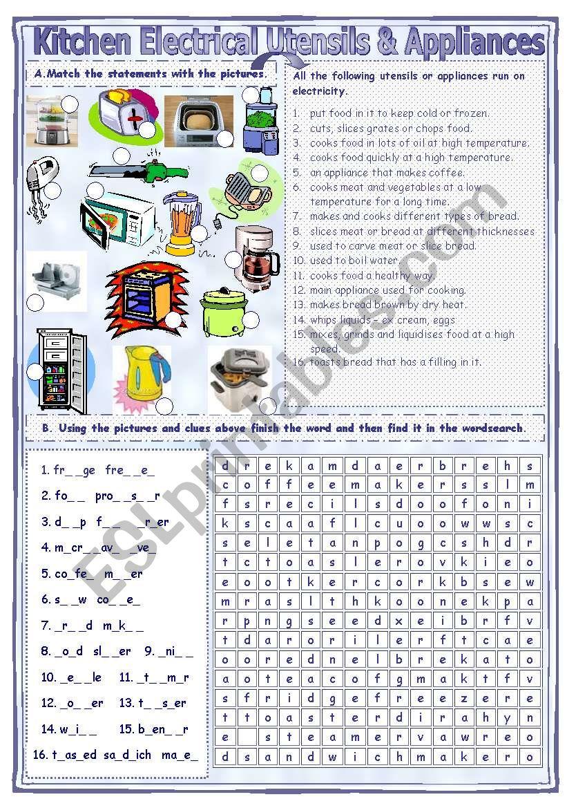 Match & Find Kitchen - Electrical Utensils & Appliances