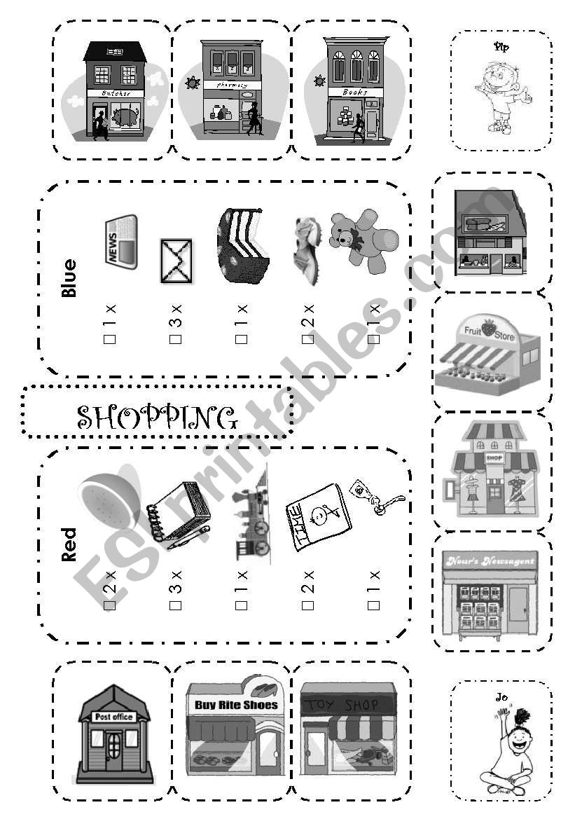 B&W version of Going Shopping Boardgame 2/2