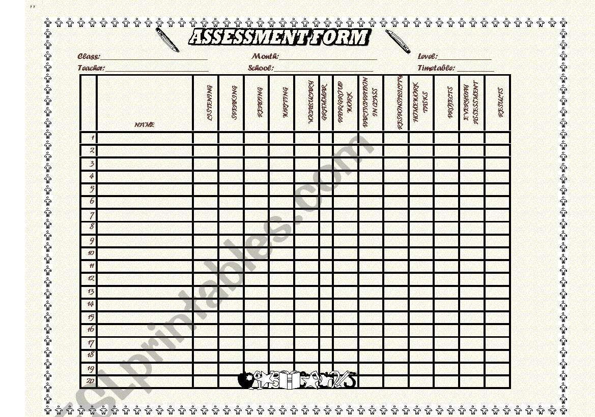 assessment format worksheet