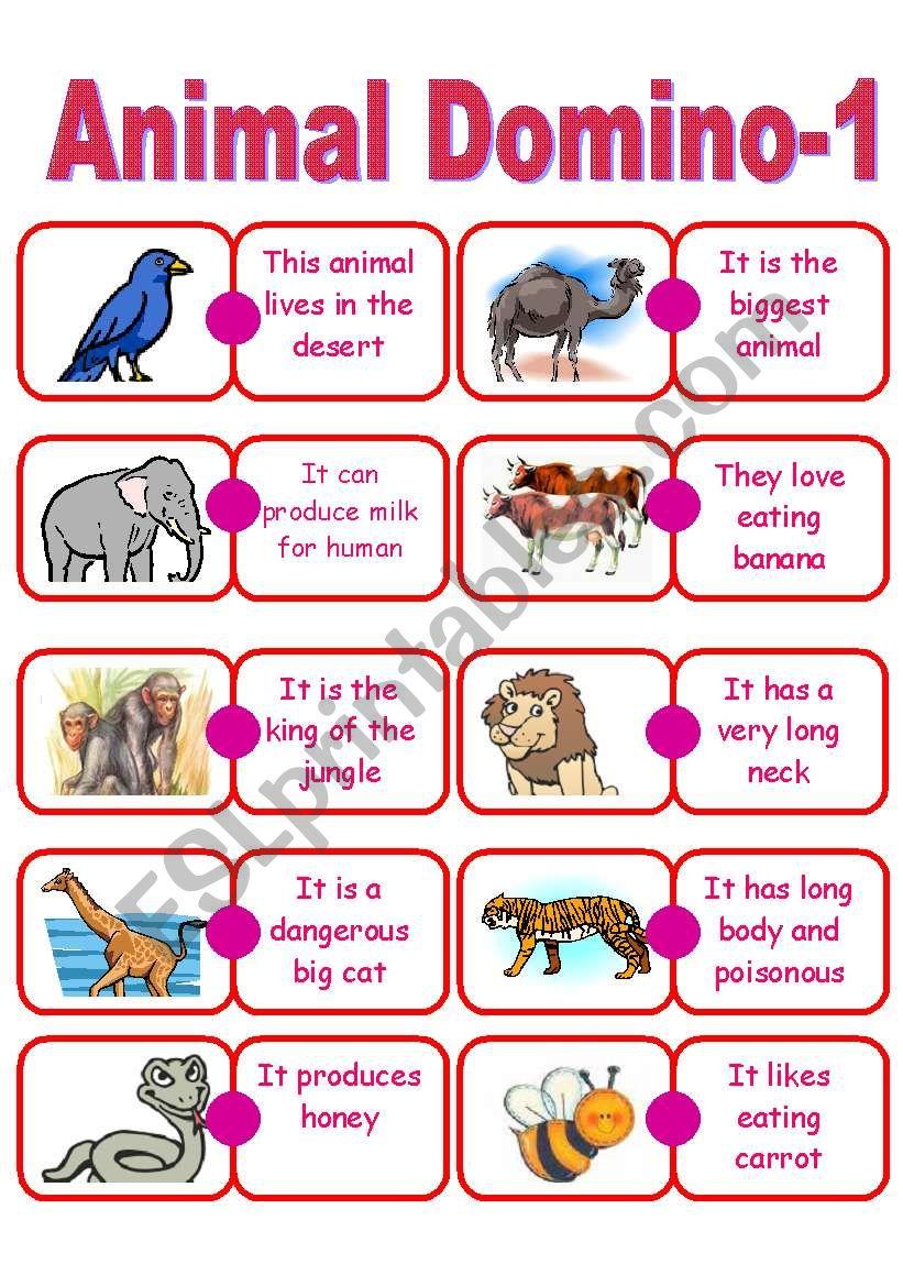 Animal Domino worksheet