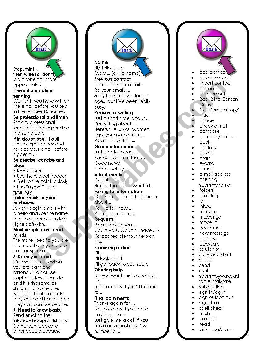 Email English Bookmarks (5 pages including 2 activities and website links for other excercises)