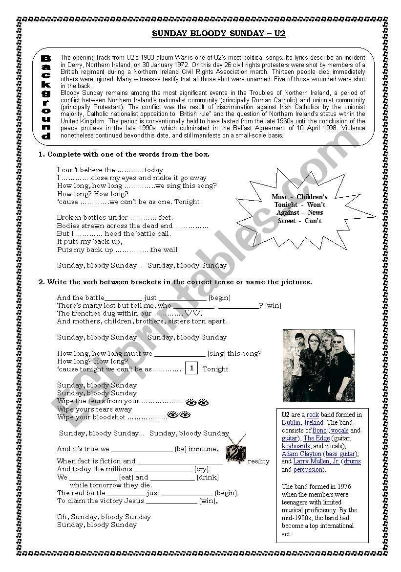 Sunday Bloody Sunday U2 worksheet