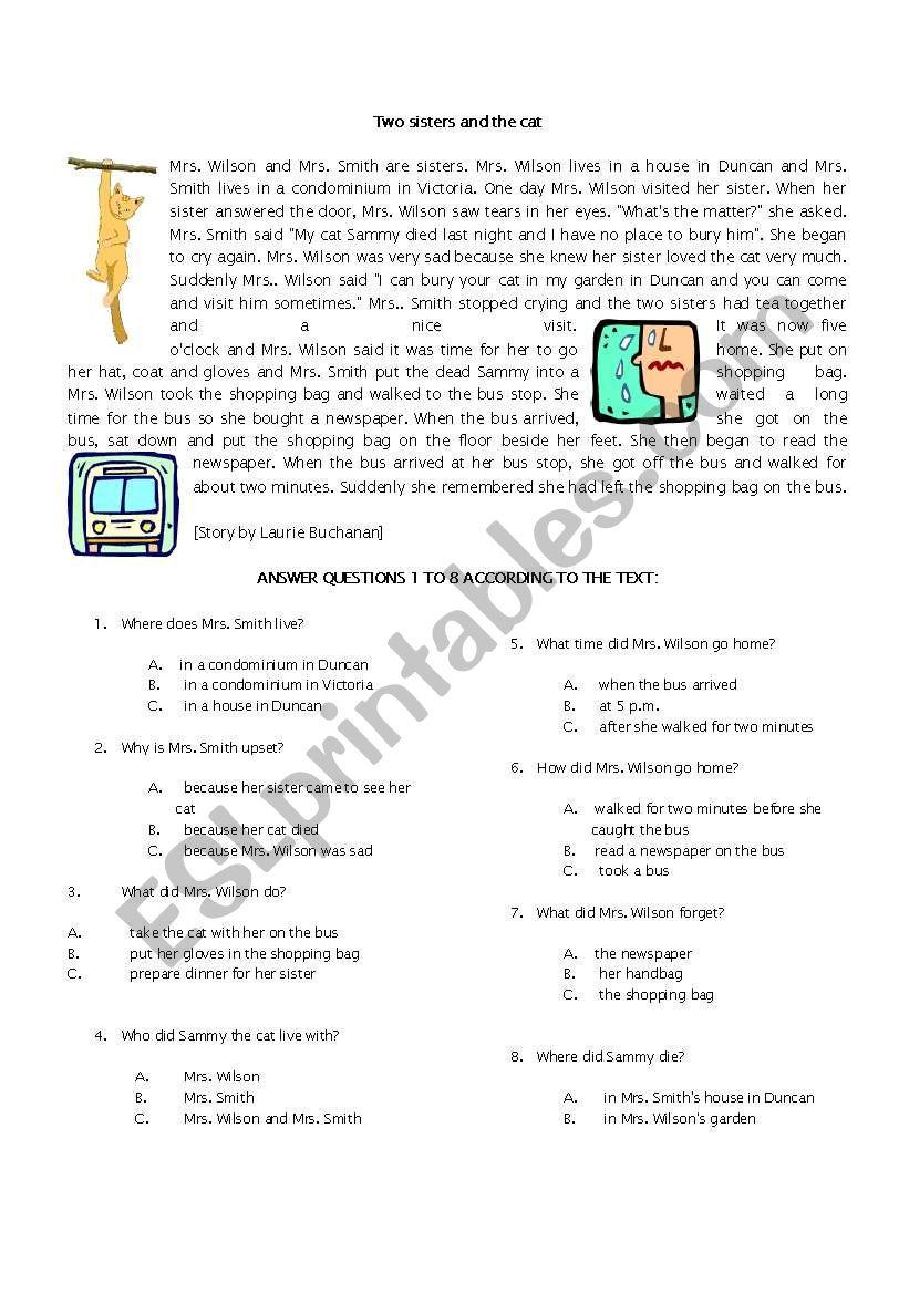 READING TEST  worksheet