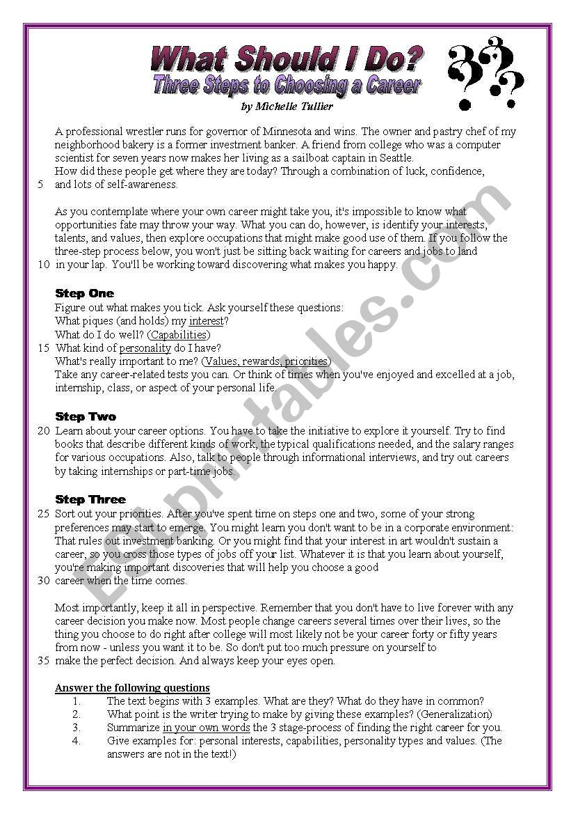 What should I do? - Careers - ESL worksheet by pirchy