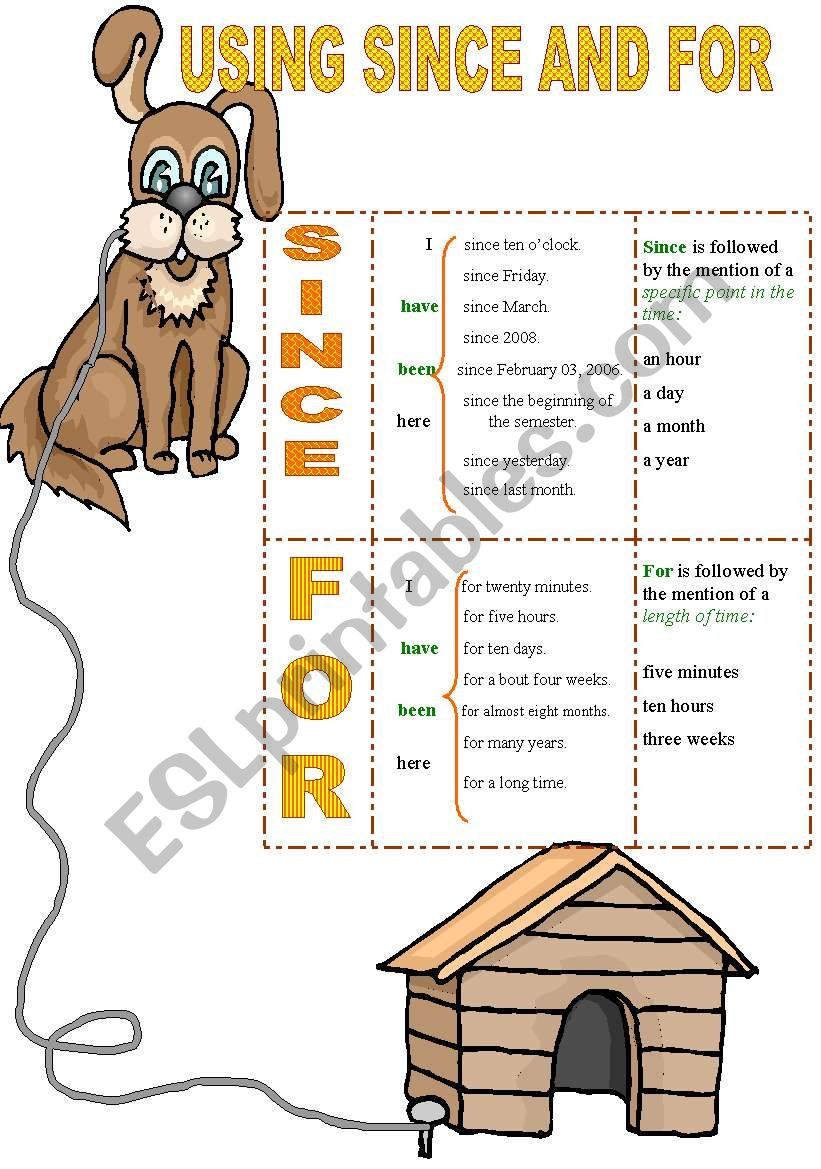 USING SINCE AND FOR worksheet